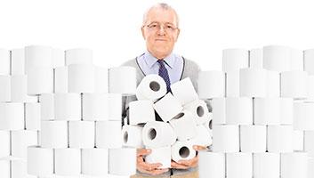Coronavirus stockpile toilet roll for house visitors